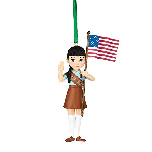 Department 56 Girl Scouts of America Brownie with Flag Ornament 3.5″