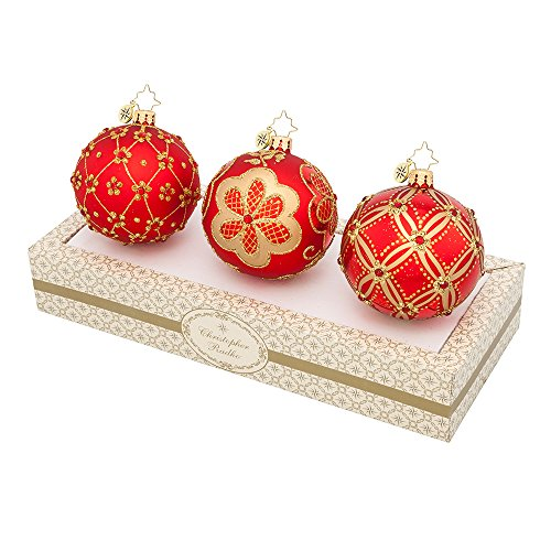 Christopher Radko Boxed Glass Ball Christmas Ornaments Red & Gold Set 3