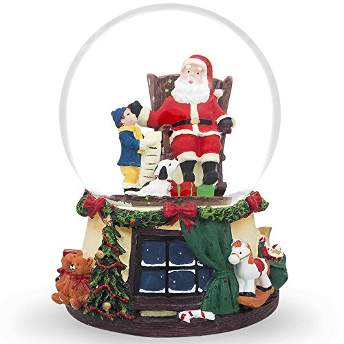 6″ Boy and Dog Reading List to Santa Claus Water Musical Snow Globe