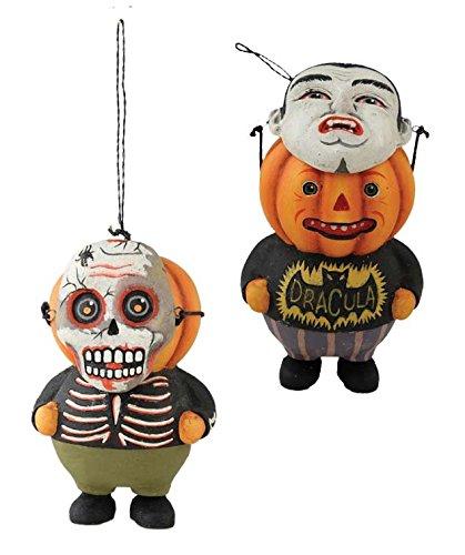 Pumpkin Head Ornaments Skull Vampire Greg Guedel Set of 2 Bethany Lowe Halloween