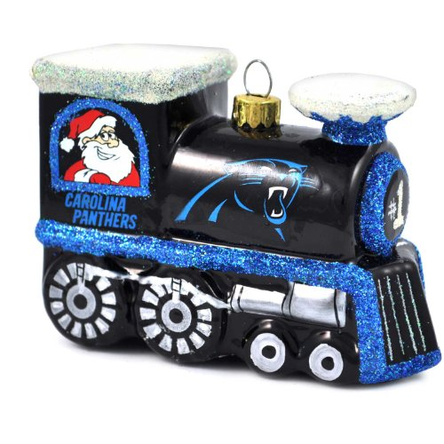 NFL Carolina Panthers Blown Glass Train Ornament