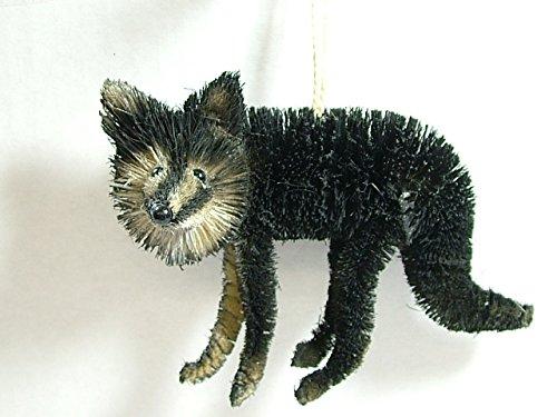 Sisal Black Fox Standing Pup Kit Vixen Dog Woodland Animal Christmas Tree Ornament