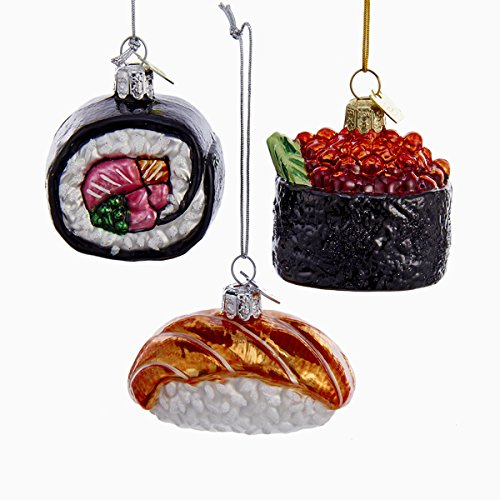 Kurt Adler 3 Assorted Sushi Rolls Glass Noble Gems Christmas Ornaments
