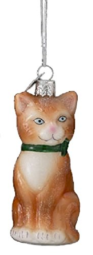 3.25″ Noble Gems Brown Glittered Glass Cat with Green Ribbon Collar Christmas Ornament