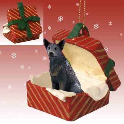 BLUE HEELER AUSTRALIAN CATTLE Dog sits in a RED Gift Box Christmas Ornament New RGBD87B by Conversation Concepts