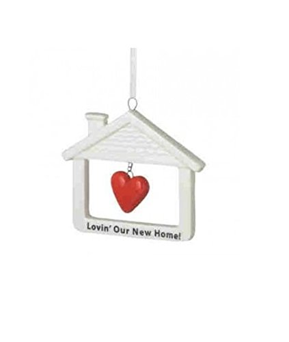 "3.25″ Ivory, Red and Black ""Lovin' Our New Home"" Glass Christmas Ornament"
