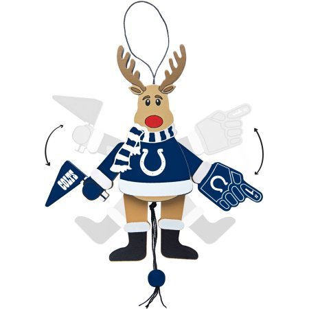 Wooden Cheering Reindeer Ornament, Indianapolis Colts- Topperscot by Boelter Brands NFL