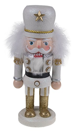 Christmas Wooden Chubby White and Gold Nutcracker – 10″ Tall