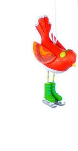 One Hundred 80 Degrees Bird with Skates Ornament, Choice of Styles (Green earmuffs)