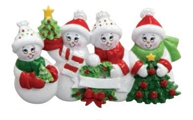 Snowman Family of 4 – Christmas Ornament by Rudolph & Me