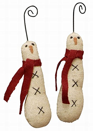 Primitives By Kathy Skiny Snowman Ornament 6 Pc
