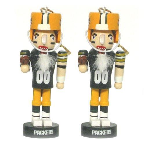 Green Bay Packers Mini Wooden Nutcracker Two-Piece Ornament Set