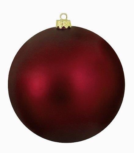 Vickerman Matte Burgundy Commercial Shatterproof Christmas Ball Ornament, 8″