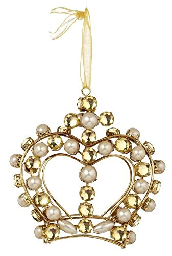 Double Sided Christmas Crown Ornament of Pearls and Crystals 4 in x 4 in