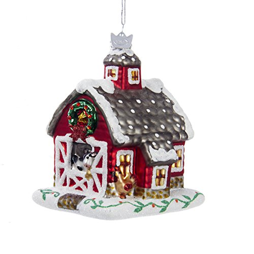 Noble Gems Snowy Glittered Farm Animal Barn Glass Christmas Ornament NB0903 New
