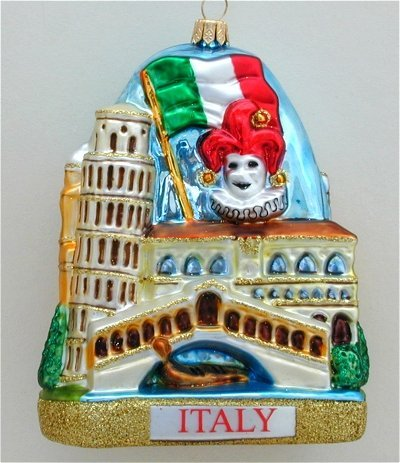 Italy Landscape Polish Mouth Blown Glass Christmas Ornament Tree Decoration
