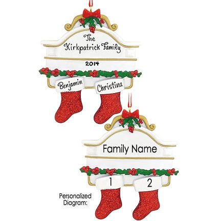 Stocking Mantle Family of 2 Ornament