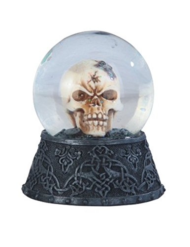 StealStreet SS-G-44035 Creepy Black Skull in Snow Globe Figurine, 3.5″