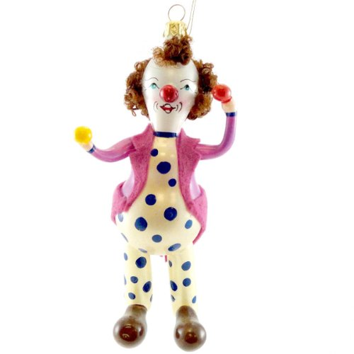 De Carlini CLOWN PLAYING WITH BALLS Blown Glass Ornament Christmas PA3656