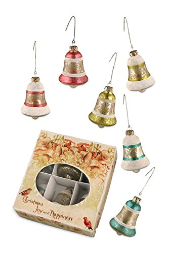 Bethany Lowe Christmas Joy and Happiness Jingle Bell Ornaments