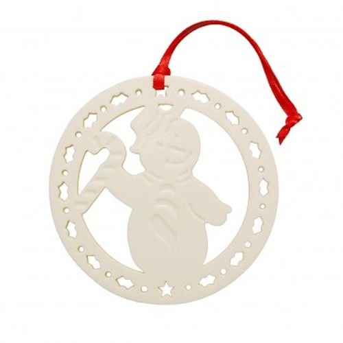 Belleek Pottery Candy Cane Snowman Ornament