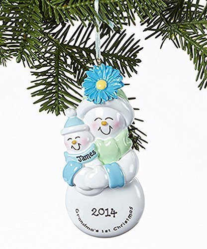 Grandma's 1st Christmas with Baby Boy Personalized Christmas Tree Ornament by Rudolph and Me Ornaments