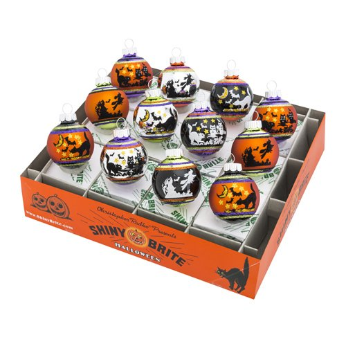 Christopher Radko Halloween 12 Piece Signature Flocked Ombre Ornaments