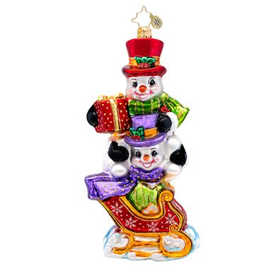 Christopher Radko Dashing Through the Snow Glass Christmas Ornament 2014