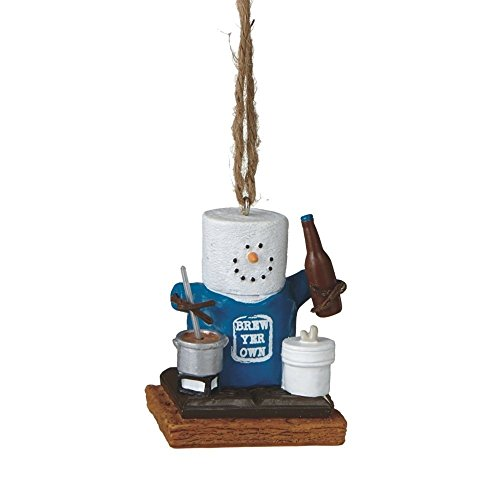 "2.25″ S'mores ""Brew Yer Own Beer"" Humorous Marshmallow Chocolate Sandwich Christmas Ornament"