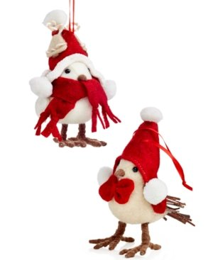 Holiday Lane Set of 2 Nordic Bird Ornaments