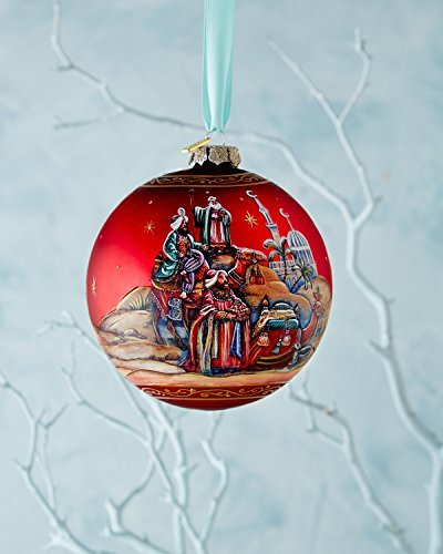 G. Debrekht Limited Edition Story of Nativity Glass Ball Ornament, 5.5″