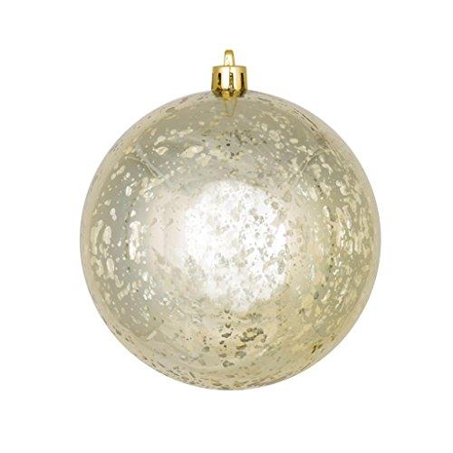 Vickerman 440254 – 4″ Champagne Shiny Mercury Ball Christmas Tree Ornament (6 pack) (M166338)