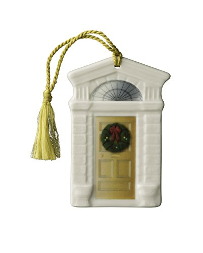 Belleek Pottery Georgian Doorway Ornament with Shamrock on Base, Gold