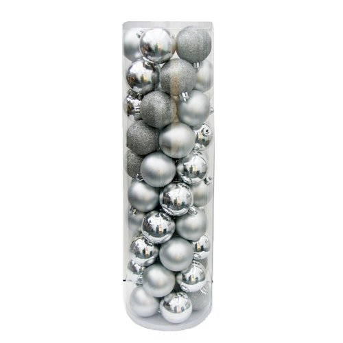 Kurt Adler Shatterproof 50-Piece Ball Ornament Set, 60mm, Silver