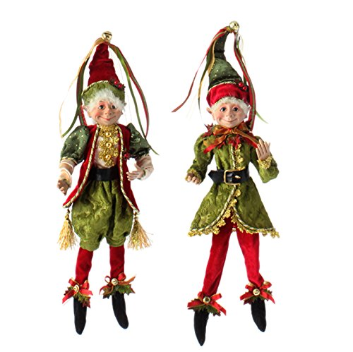 RAZ Imports – Botanical Garden Theme – 16″ Red, Gold and Green Decorative Elves (Both Colors)