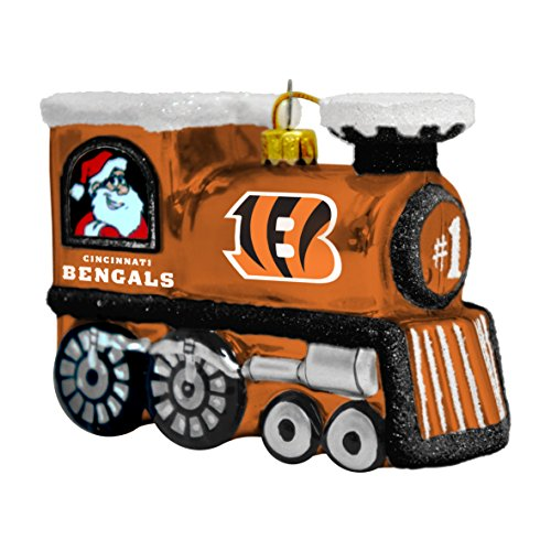 NFL Cincinnati Bengals Blown Glass Train Ornament
