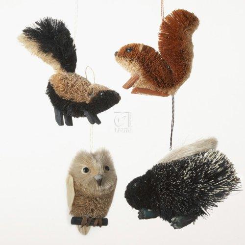 Buri Woodland Animal Ornament Set OF 4 – Skunk, Squirrel, Porcupine And Owl