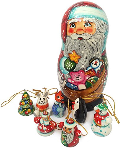Santa Claus matryoshka. Christmas Tree Decorations. Hanging Wooden Figurines. Nativity Set of 8 ps – 7″ Tall (6006)