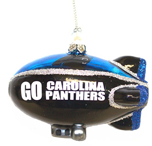 Officially Licensed Carolina Panthers Blown Glass Team Blimp Glitter Ornament