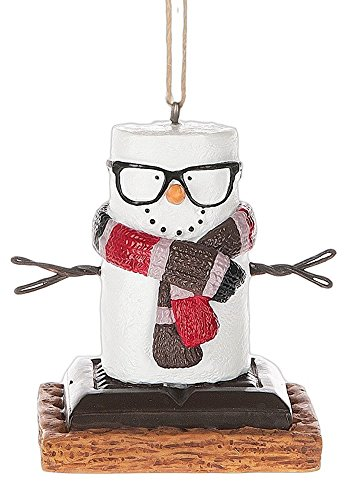 Smores Hipster with Retro Glasses Resin Stone Christmas Ornament