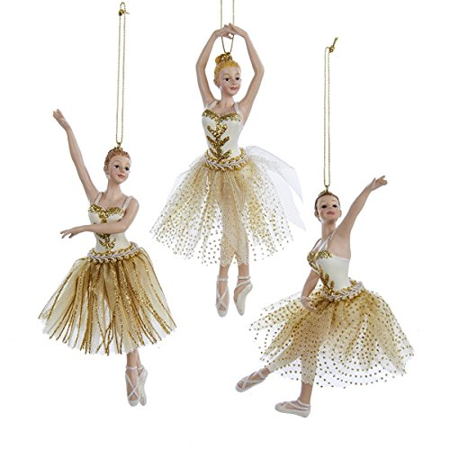 Kurt Adler Ivory & Gold Ballerina Christmas Tree Ornaments, Set of 3