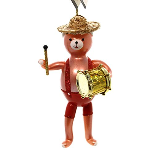 De Carlini BEAR BAND WITH DRUM Blown Glass Ornament Music A57064