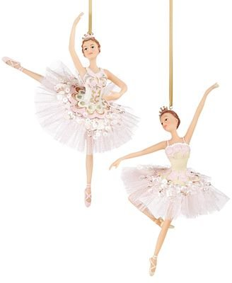 Holiday Lane Set of 2 Pink Ballerina Ornaments