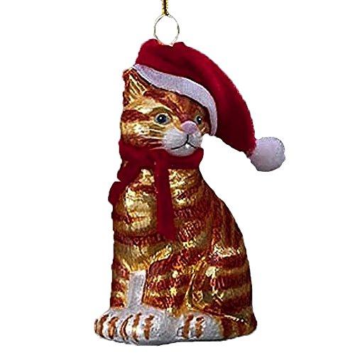Noble Gems Glass Cat Ornament w Santa Hat Orange Stripes