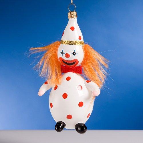De Carlini Red Hair Clown Italian Mouthblown Glass Christmas Ornament