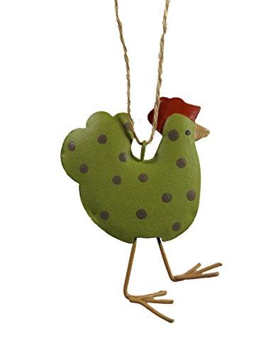 Lime Green Hen Polka Dot Chicken Farm Metal Christmas Tree Ornament