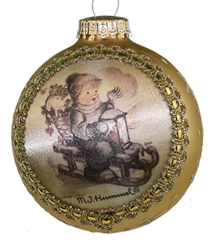 Krebs Glass Ball with Hummel Silk Picture Ornament (H316 Winter Fun)