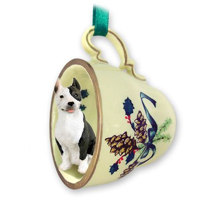 Pit Bull Terrier Brindle Tea Cup Green Holiday Ornament