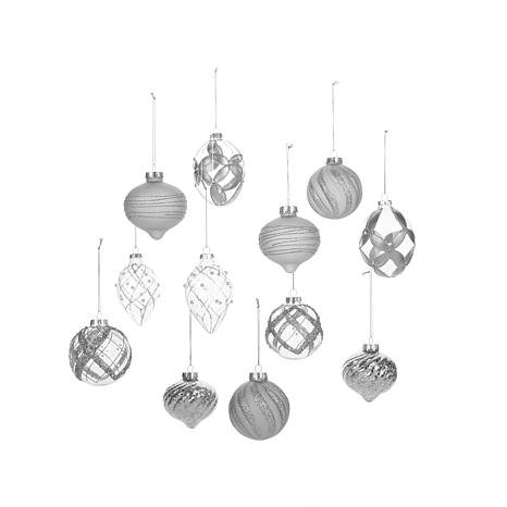 Winter Lane 12-piece Glass Ornament Holiday Set – Silver Frosted