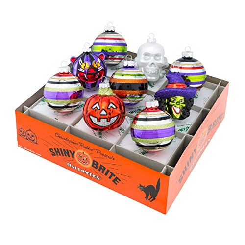 Shiny Brite Halloween Rounds and Figures Ornament – Set of Nine